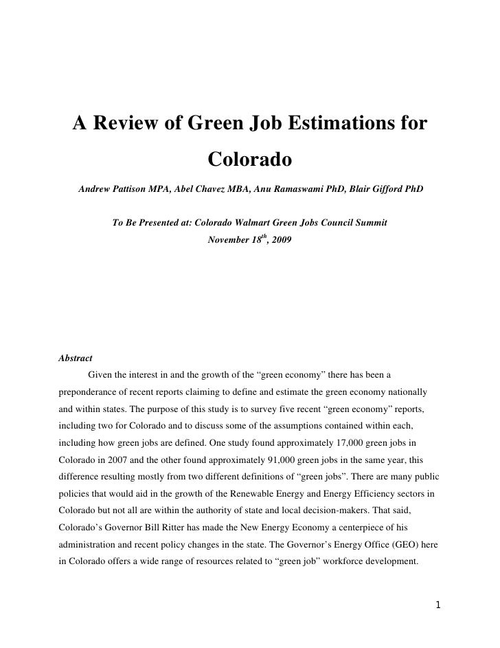 A Review of Green Job Estimations for                                       Colorado      Andrew Pattison MPA, Abel Chavez...