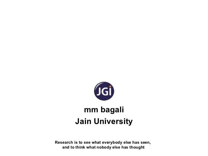 MM Bagali, Research, PhD, Literature