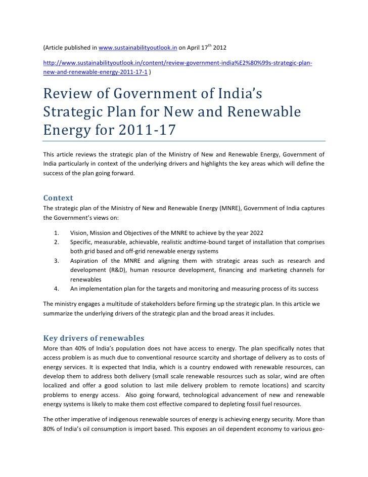 Review of mnre budget for 2011 2017