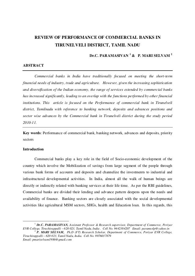 c.paramasivan Review of performance of commercial banks in tirunelveli district, tamil nadu