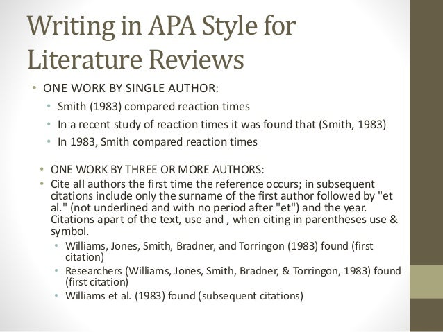 Literature review apa layout