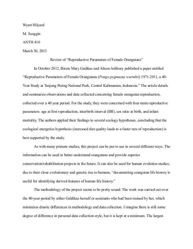 "Review of ""reproductive parameters of female orangutans"""