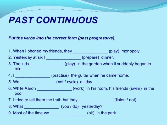 ... english past continuous tense : Past Continuous Tense Worksheet Pdf