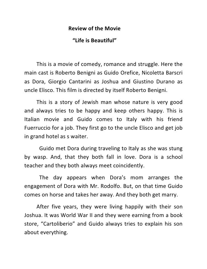 "Review of the Movie                    ""Life is Beautiful""     This is a movie of comedy, romance and struggle. Here thema..."