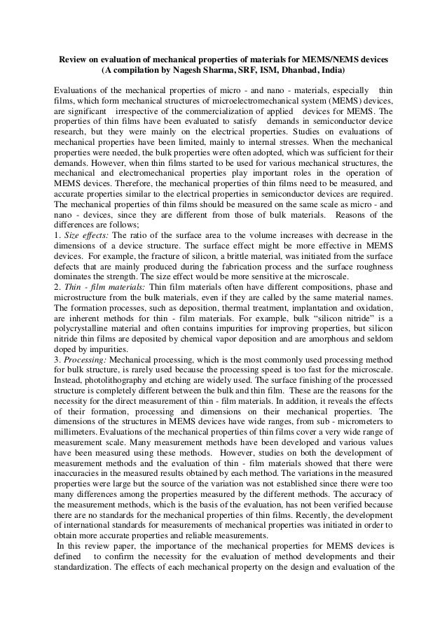 Review on evaluation of mechanical properties of materials for MEMS/NEMS devices (A compilation by Nagesh Sharma, SRF, ISM...
