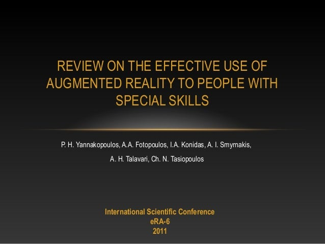Review on the effective use of augmented reality to people with special skills