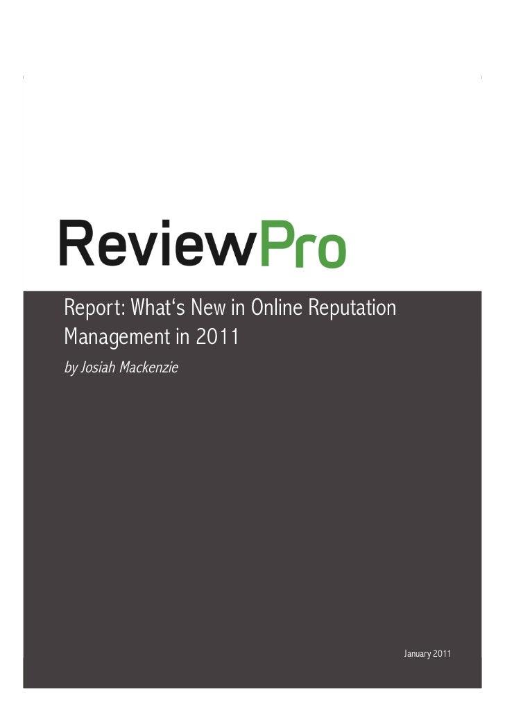 Online Reputation Management for Hotels in 2011