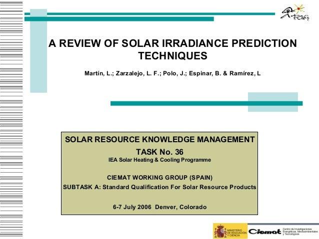 Review solar prediction iea 07-06
