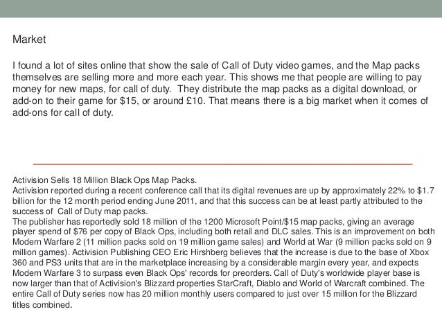 MarketI found a lot of sites online that show the sale of Call of Duty video games, and the Map packsthemselves are sellin...