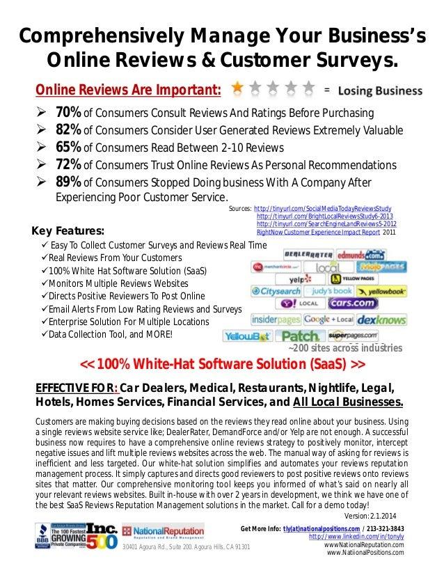 Online Reviews And Customer Survey Reputation Managment Solution. Sales Brochure. V12.16.2013