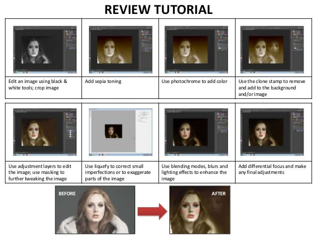 REVIEW TUTORIAL  Edit an image using black & white tools; crop image  Add sepia toning  Use photochrome to add color  Use ...