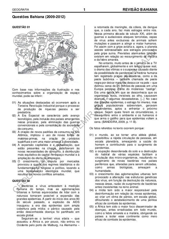 GEOGRAFIA  1  REVISÃO BAHIANA  Questões Bahiana (2009-2012) QUESTÃO 01  Com base nas informações da ilustração e nos conhe...