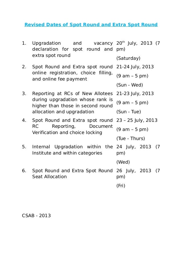 Revised Dates of Spot Round and Extra Spot Round 1. Upgradation and vacancy declaration for spot round and extra spot roun...