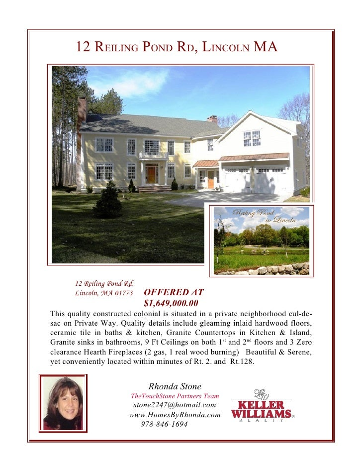 12 REILING POND RD, LINCOLN MA            12 Reiling Pond Rd.        Lincoln, MA 01773     OFFERED AT                     ...