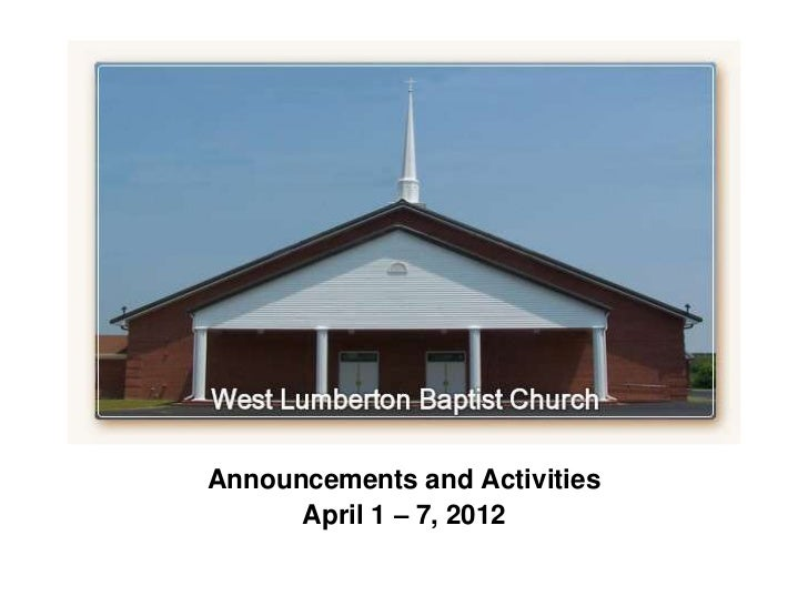Announcements for the week of April 1-7