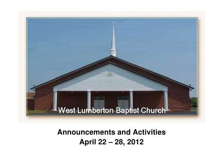 Announcements for April 22-28