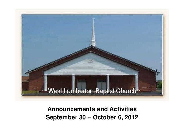 `Announcements and ActivitiesSeptember 30 – October 6, 2012