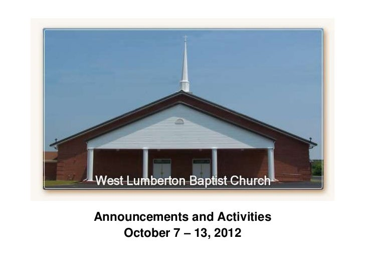 `Announcements and Activities    October 7 – 13, 2012