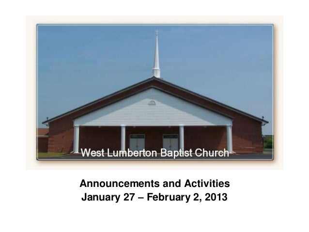 `Announcements and ActivitiesJanuary 27 – February 2, 2013