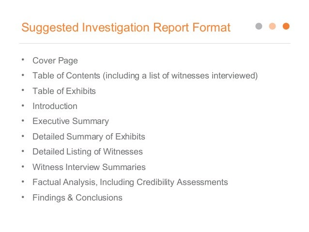 investigation report writing sample