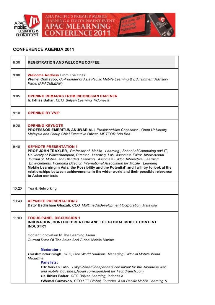 APAC MLEARNING 2011 Jun 8-9 Bandung conference agenda draft