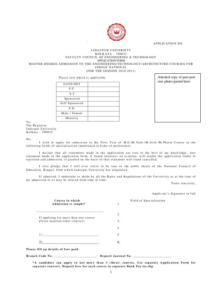 APPLICATION NO.                                 JADAVPUR UNIVERSITY                                   KOLKATA – 700032    ...