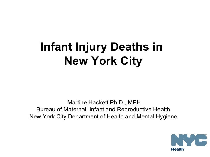 Infant Injury Deaths in       New York City              Martine Hackett Ph.D., MPH  Bureau of Maternal, Infant and Reprod...