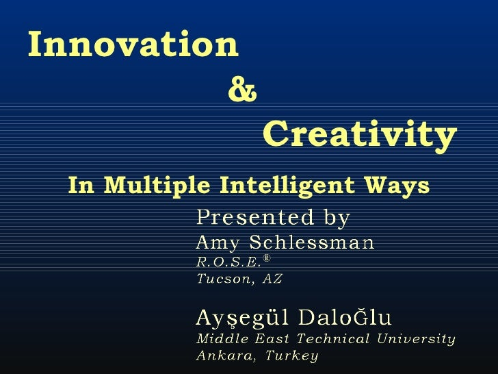 Innovation  &  Creativity  In Multiple Intelligent Ways