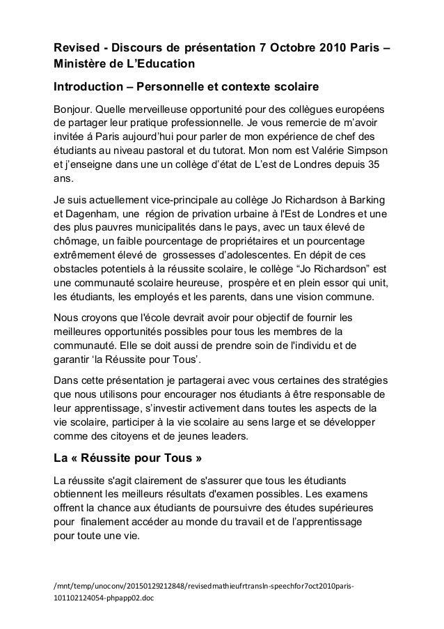 Revised - Discours de présentation 7 Octobre 2010 Paris – Ministère de L'Education Introduction – Personnelle et contexte ...