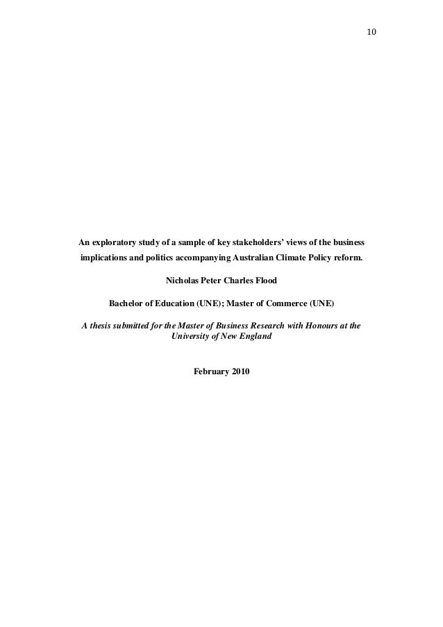 10 An exploratory study of a sample of key stakeholders' views of the business implications and politics accompanying Aust...