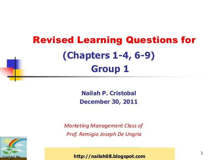 Revised Learning Questions for                   (Chapters 1-4, 6-9)                        Group 1                       ...
