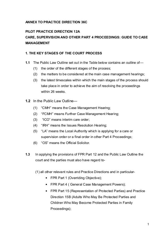 ANNEX TO PRACTICE DIRECTION 36CPILOT PRACTICE DIRECTION 12ACARE, SUPERVISION AND OTHER PART 4 PROCEEDINGS: GUIDE TO CASEMA...