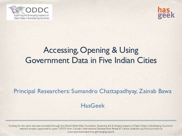 ODDC Context - Accessing, Opening and Using Government Data in Five Indian Cities: National Policies and Non-Governmental Practices
