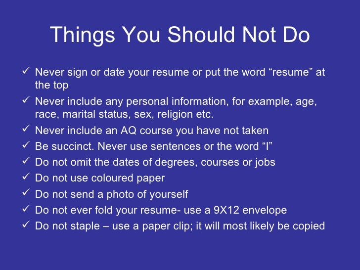 28 things not to put on resume skills resume mistakes