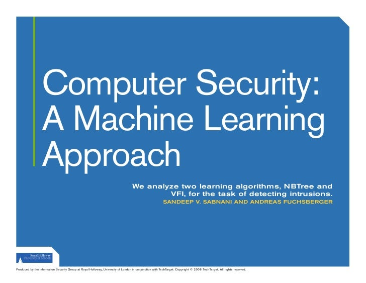 Computer Security:                   A Machine Learning                   Approach                                        ...