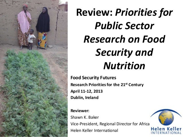 Review: Priorities for       Public Sector    Research on Food       Security and        NutritionFood Security FuturesRes...