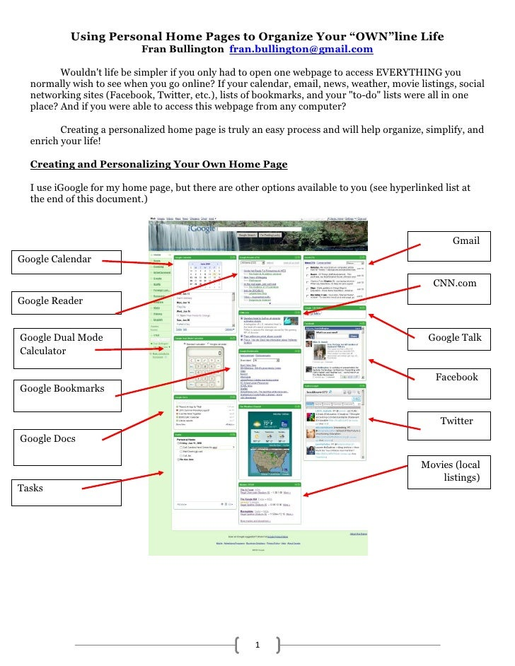 """Using Personal Start Pages to Organize Your """"OWN""""line Life<br />Fran Bullington  fran.bullington@gmail.com <br />Wouldn't ..."""