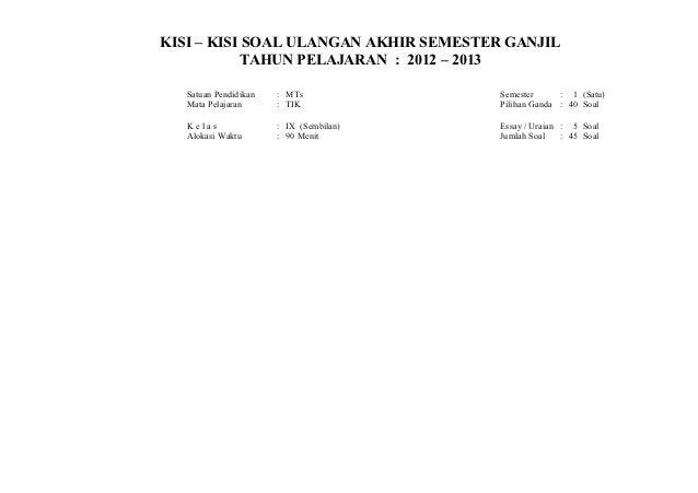 KISI – KISI SOAL ULANGAN AKHIR SEMESTER GANJIL           TAHUN PELAJARAN : 2012 – 2013   Satuan Pendidikan   : MTs        ...