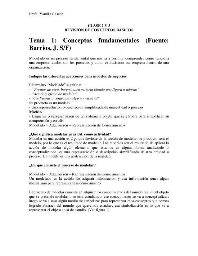 Profa. Yamila Gascón CLASE 2 Y 3 REVISIÓN DE CONCEPTOS BÁSICOS Tema 1: Conceptos fundamentales (Fuente: Barrios, J. S/F) M...