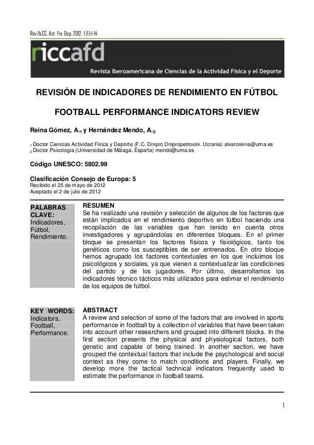 Revisión de indicadores de rendimiento en fútbol