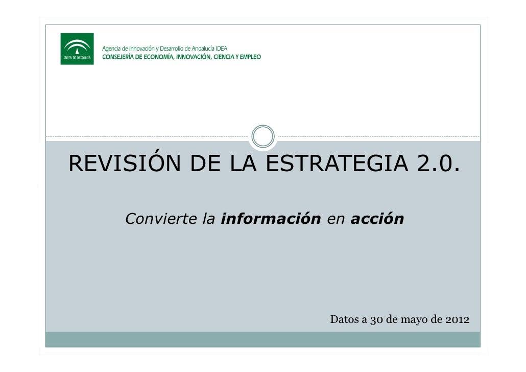 REVISIÓN DE LA ESTRATEGIA 2.0.    Convierte la información en acción                            Datos a 30 de mayo de 2012