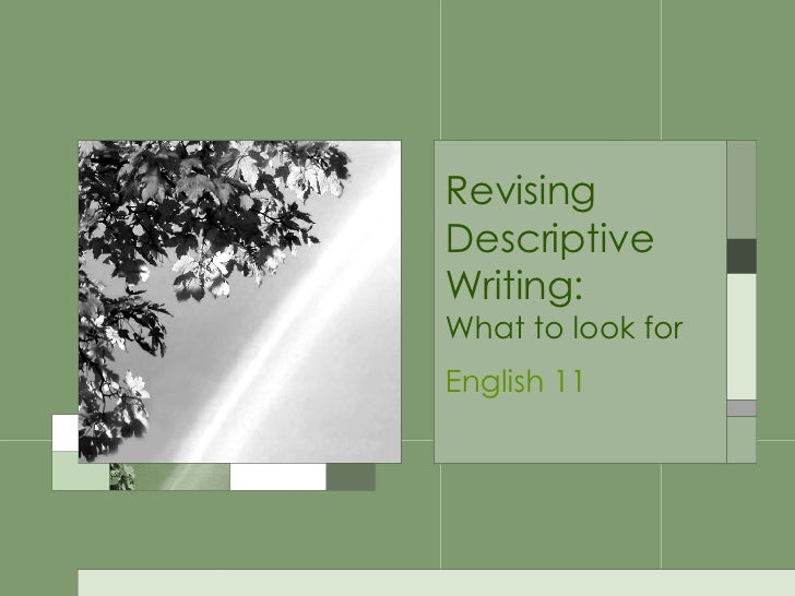Revising Descriptive Writing