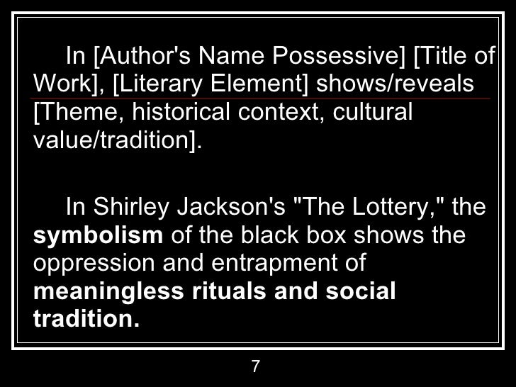 essay the lottery irony Whether you love or hate the lottery by shirley jackson, there is no doubt that it is a story that demands attention by making a close literary analysis of the.