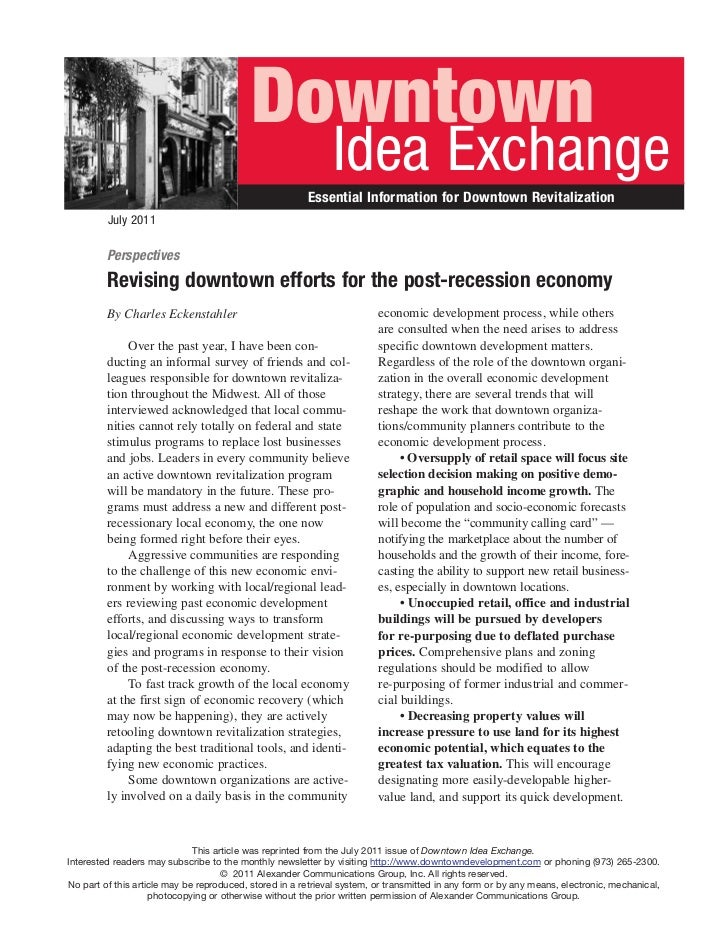 Revising Downtowns Post Recession