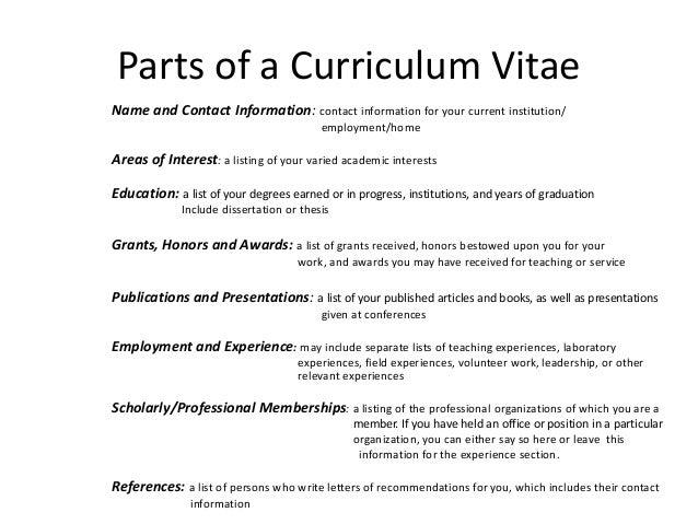 revising my curriculum vitae