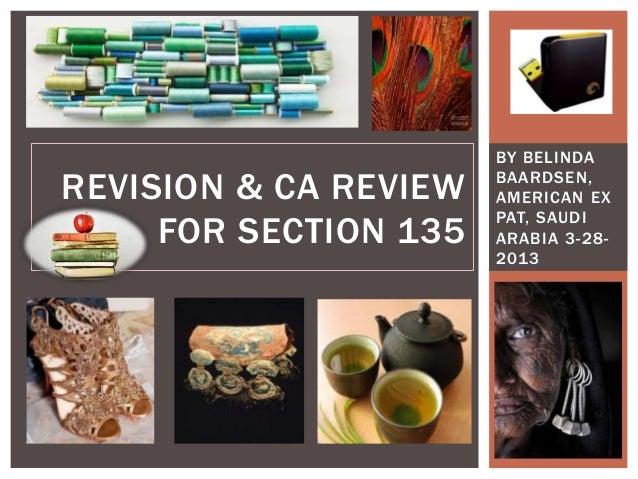 BY BELINDAREVISION & CA REVIEW   BAARDSEN,                       AMERICAN EX                       PAT, SAUDI     FOR SECT...