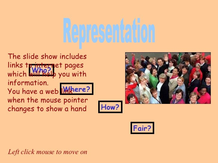 Who? Where? How? Fair? Representation Left click mouse to move on The slide show includes links to internet pages which wi...