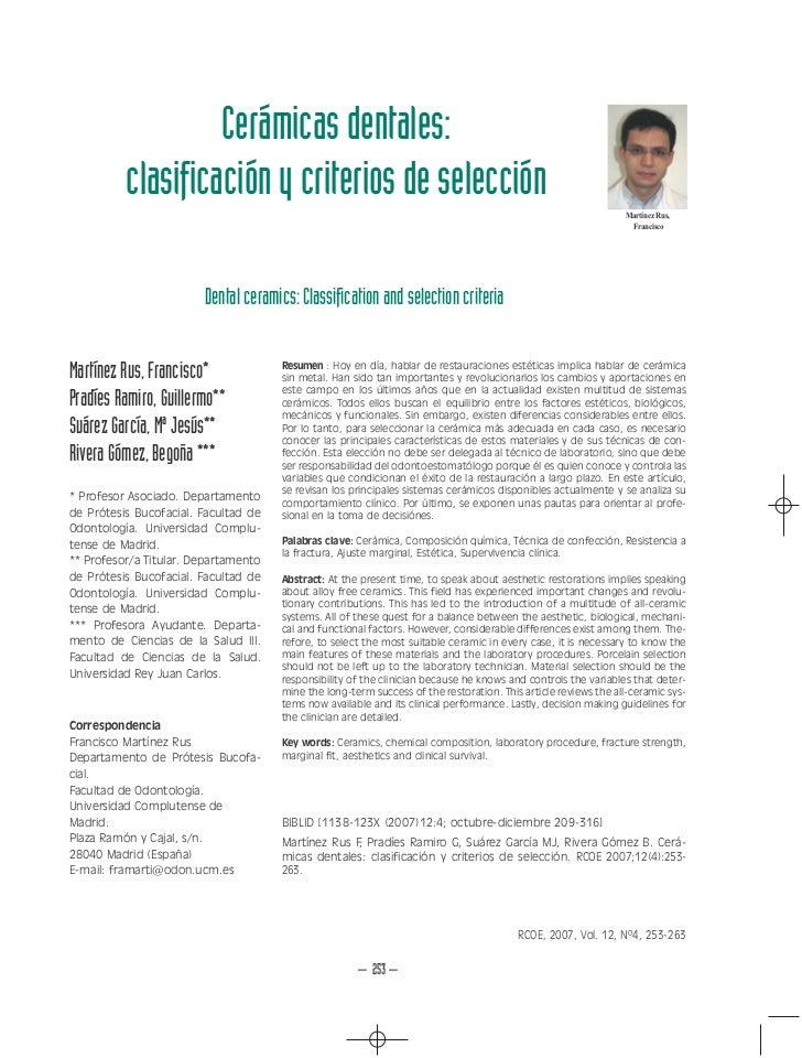 Cerámicas dentales:          clasificación y criterios de selección                                                       ...