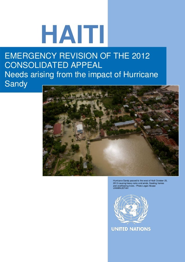 Haiti: Emergency Revision of the 2012 Consolidated Appeal - Needs arising from the impact of Hurricane Sandy