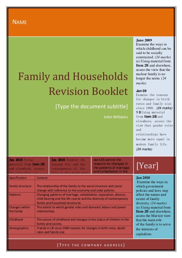 Families and Households Revision AS